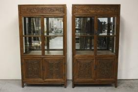 Pair Chinese rosewood display cases