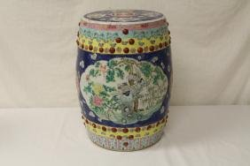 Chinese 19th c. famille rose garden stool