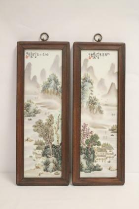 Pair hand painted porcelain plaques