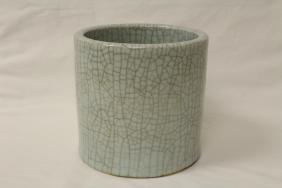 Large Chinese crackle porcelain brush holder