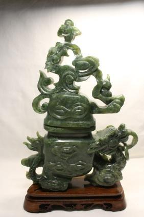 Large Chinese celadon jade carved vase