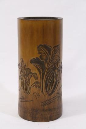 Chinese bamboo carved brush holder