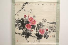 "Watercolor scroll ""birds and flowers"""