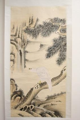 "Watercolor scroll ""landscape with eagle"""