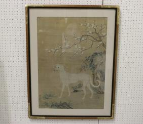 Large rosewood framed Chinese watercolor