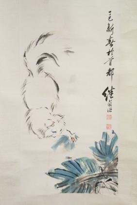 "Watercolor scroll ""cat"""