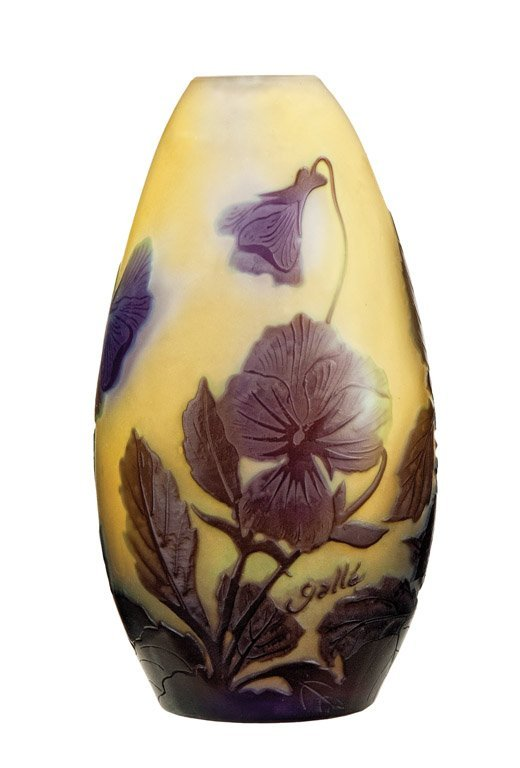 2: A Galle purple and yellow cameo glass vase, French,