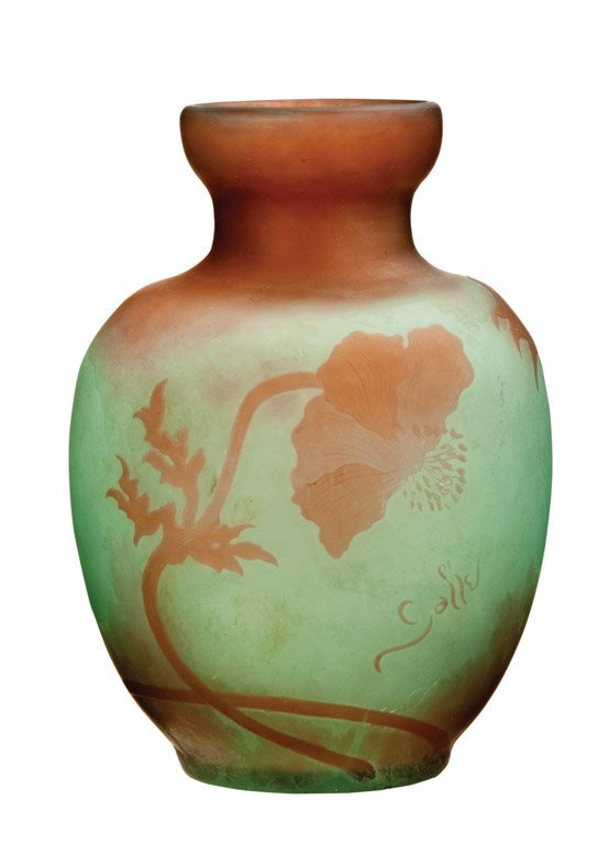 3: A green and orange cameo glass vase by Galle, French