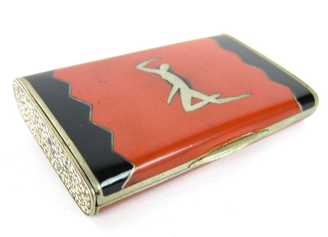 8: An Art Deco red and black enamel silver case, French
