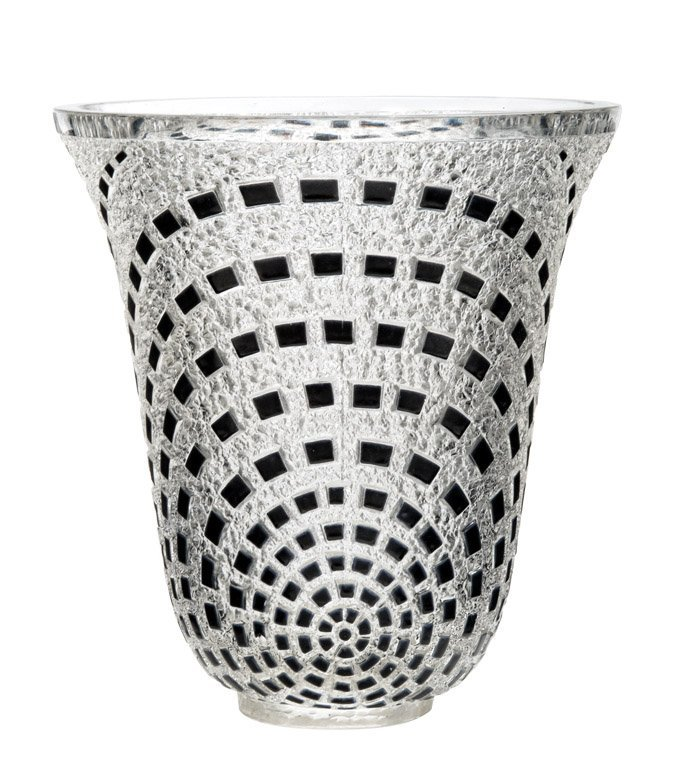 12: A black stained and clear glass vase by R. Lalique