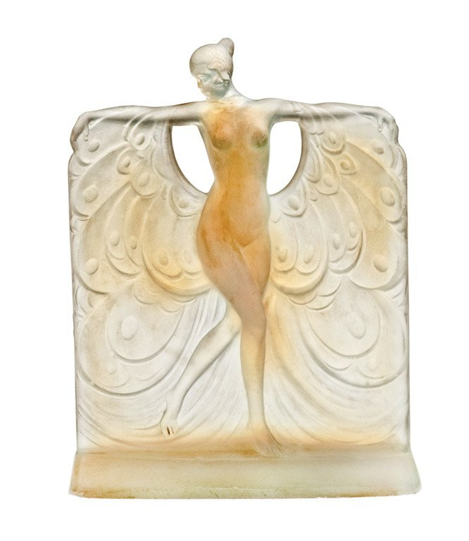 15: An opalescent glass figure of a naked girl, Suzanne
