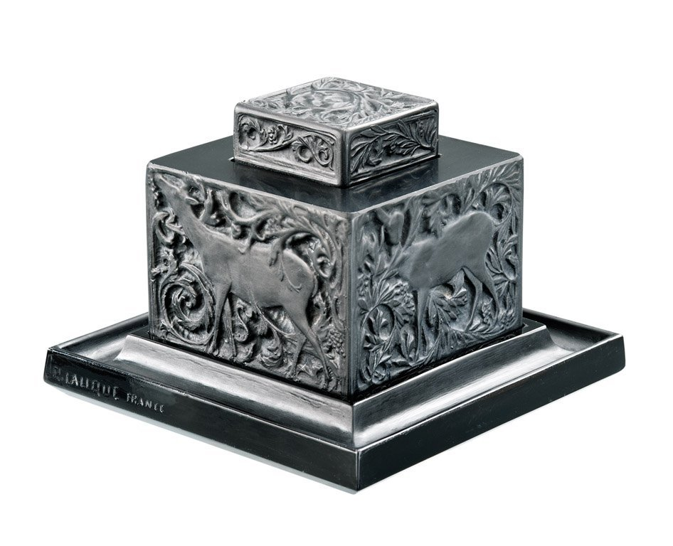18: A black glass square inkwell, cover and stand, by R