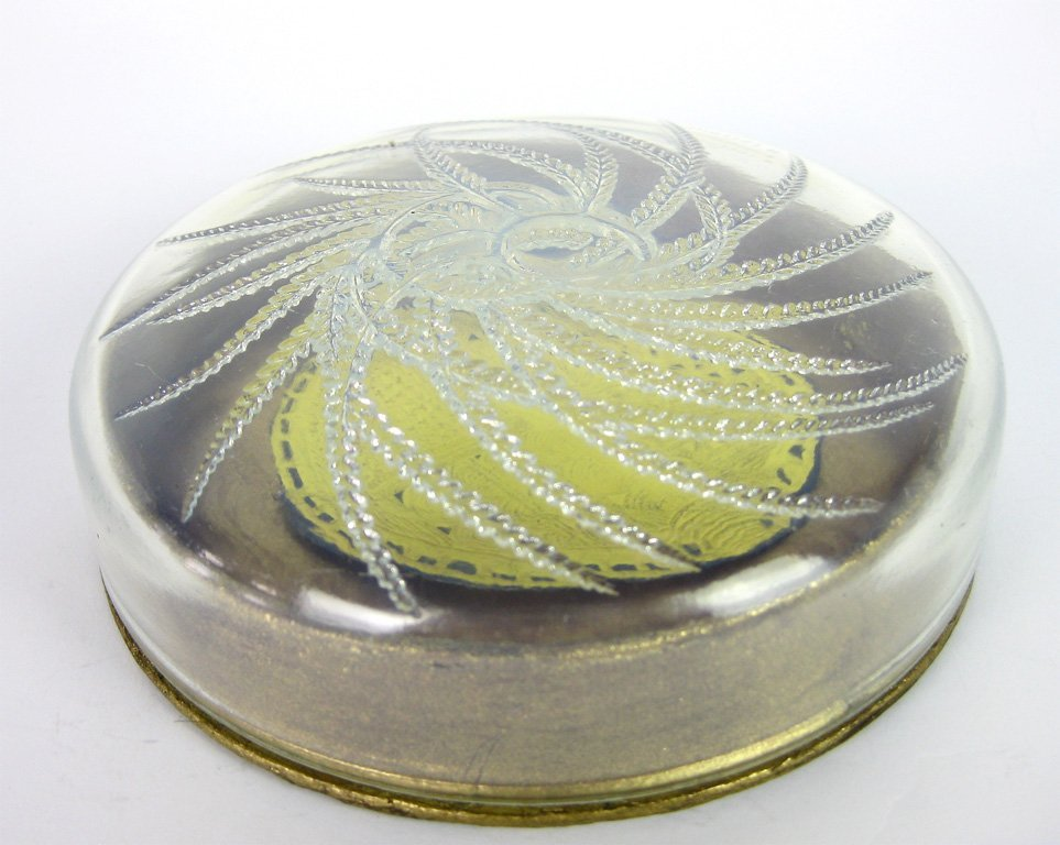 20: A opalescent glass lidded powder box  by R. Lalique
