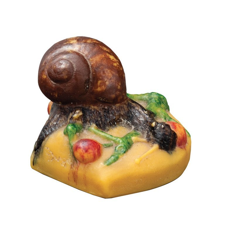 21: A pate-de-verre paperweight in the form of a snail