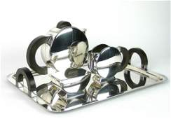 208 A Christofle silverplated three piece modernist t