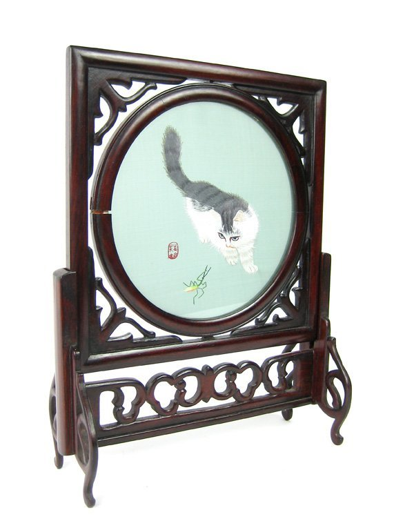 209: A Chinese silk embroidery and hardwood revolving t - 4