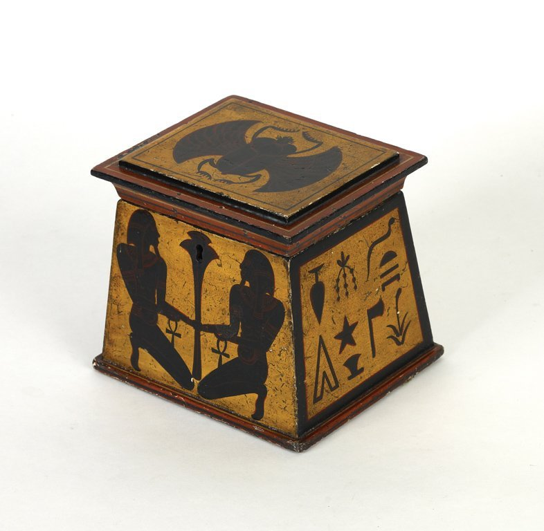 2: A very rare and unusual Egyptian revival tea caddy i