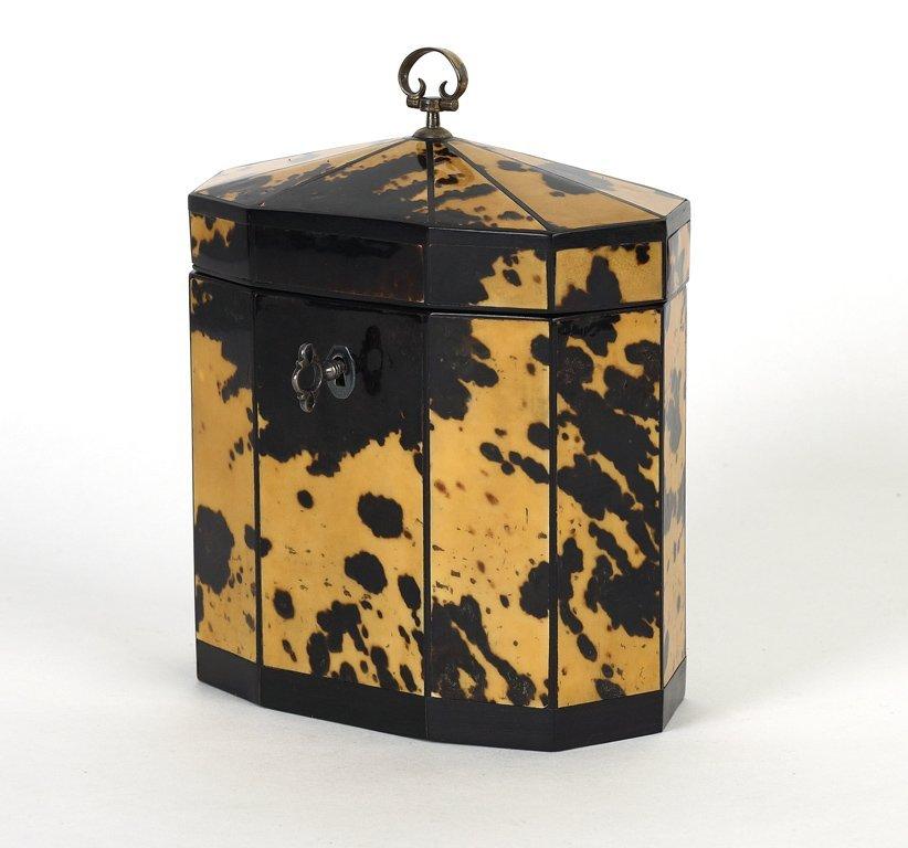 3: A fine George III tortoiseshell decagonal tea-caddy,