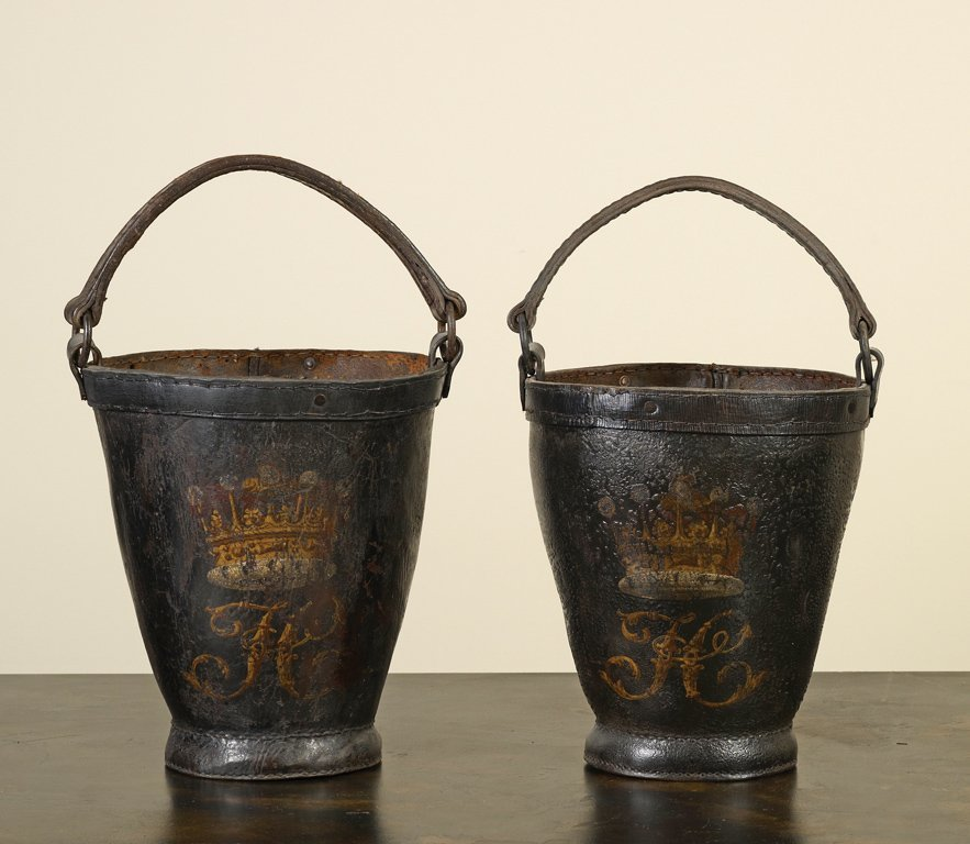 21: A rare pair of George III period black leather and