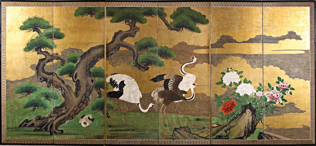 52: A fine Kano School five-fold screen depicting crane