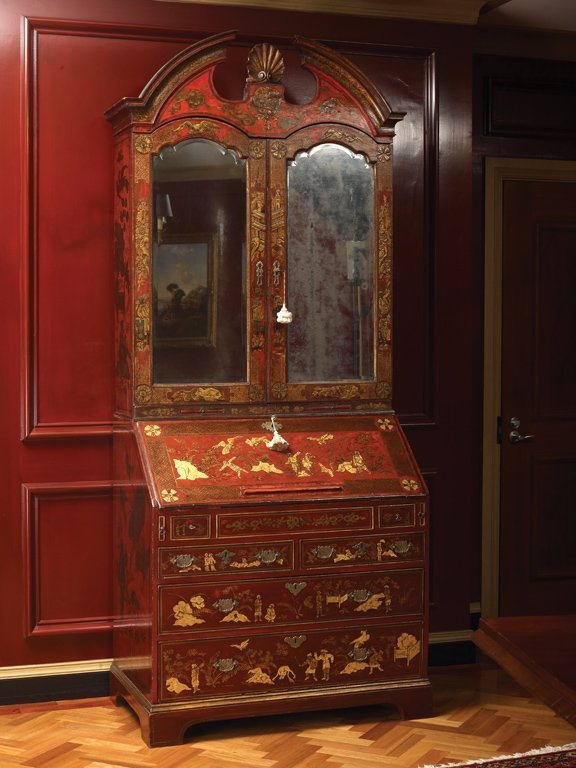 58: A fine George II red and gold lacquered Chinoiserie