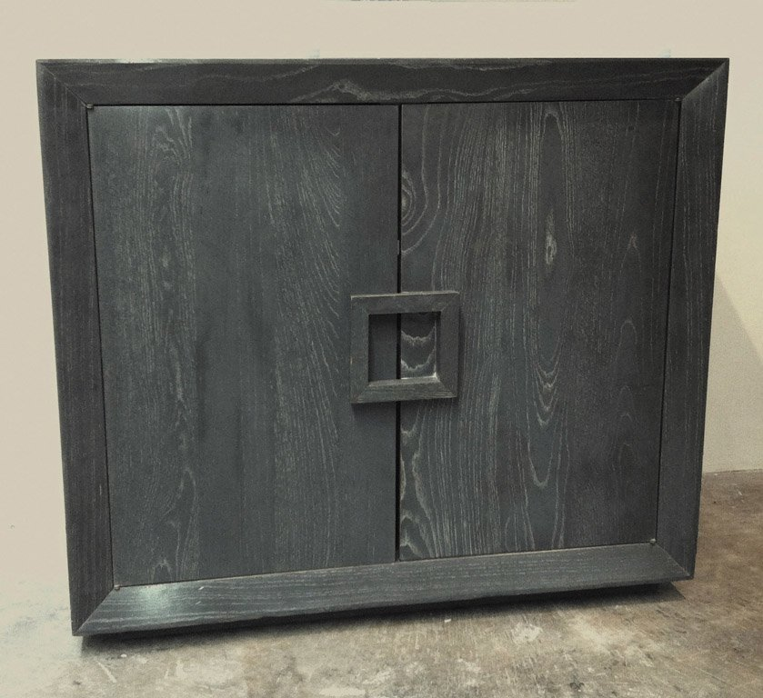 4: A grey cerused oak James Mont side cabinet, circa 19