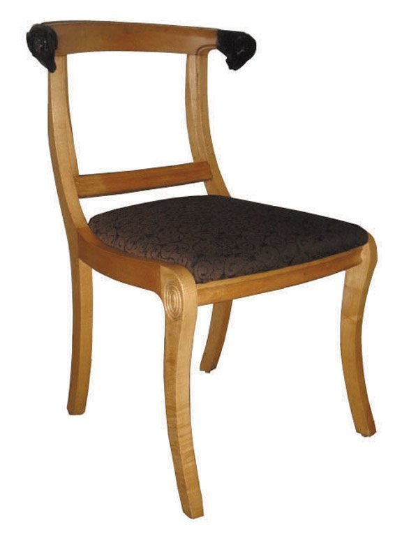 13: A pair of rams head Regency-style side chairs, circ