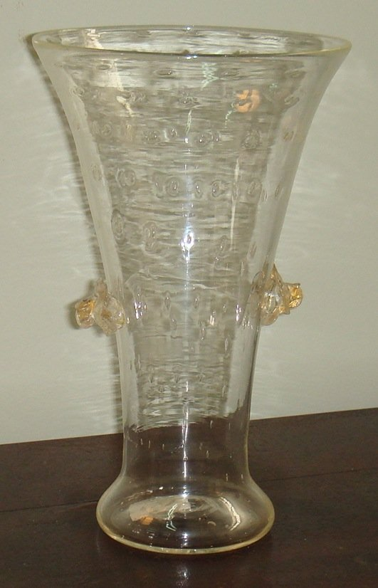 20: A clear Murano bullicante vase with foliate applied