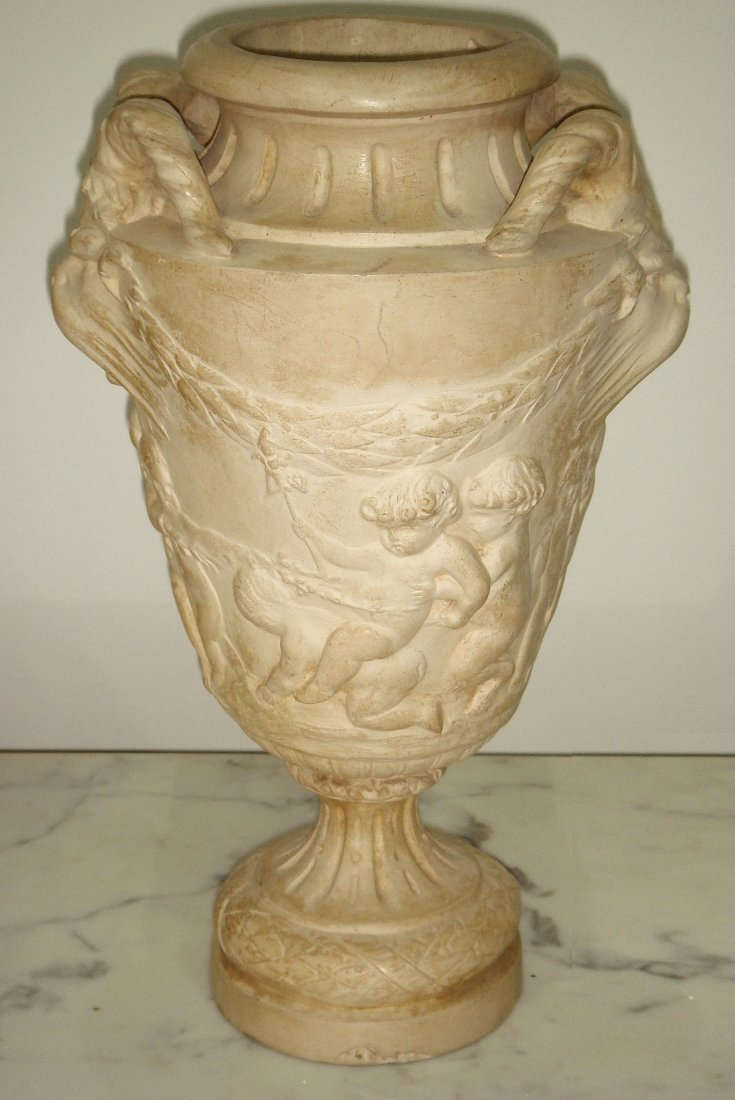 23: A clay reproduction of an antique urn, Italian, cir