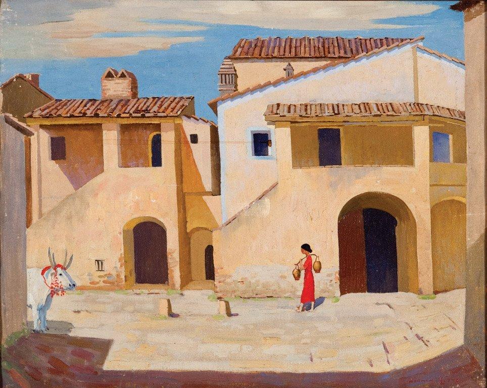 6: NORMAN LLOYD  (1894–1983)  Village near Siena oil on