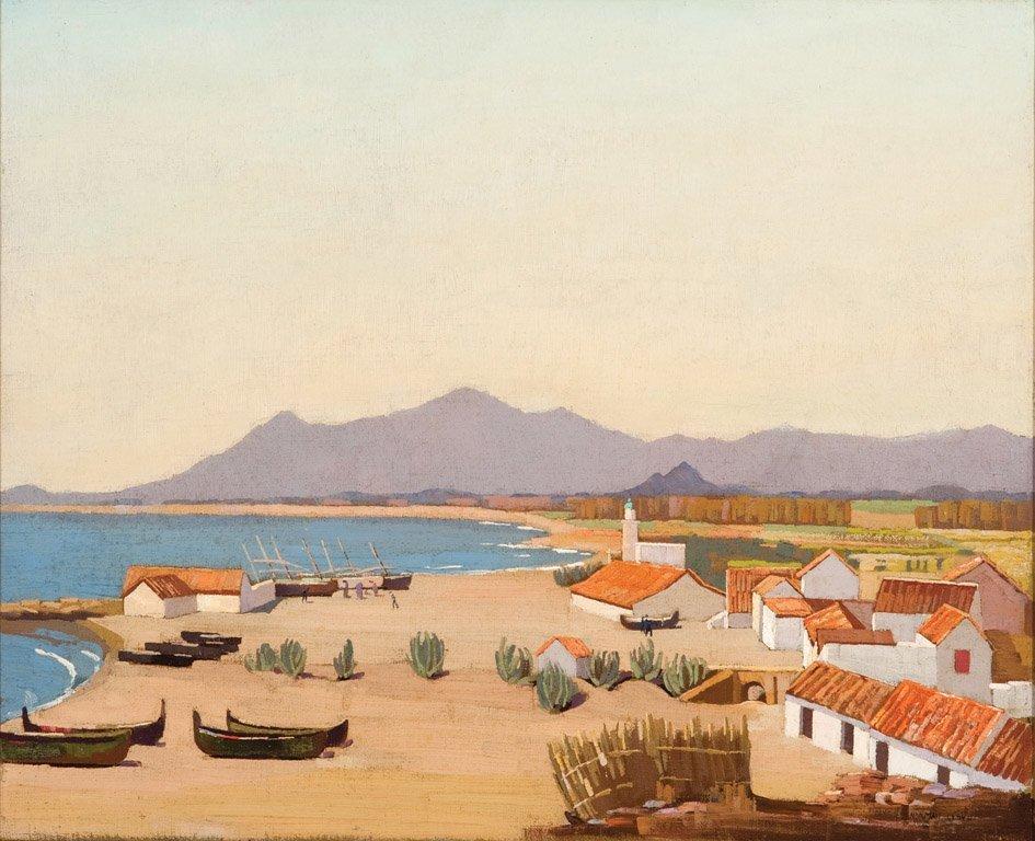 10: NORMAN LLOYD  (1894–1983)  Boats, beach, village oi
