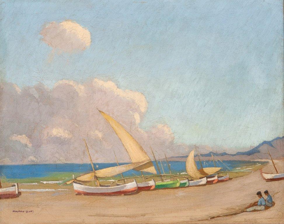 11: NORMAN LLOYD  (1894–1983)  Boats on the beach oil o