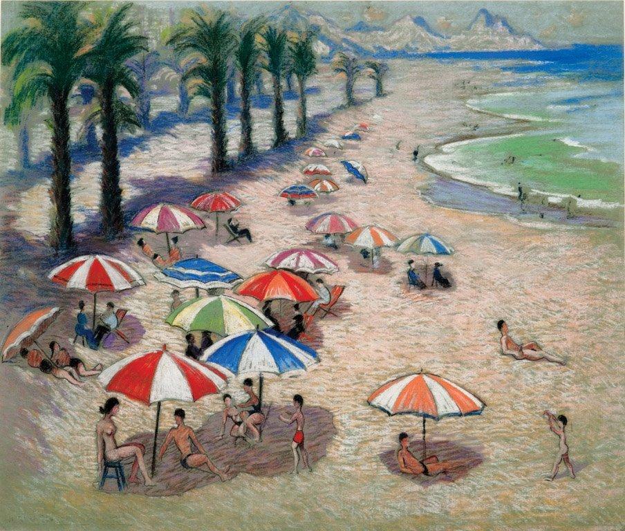 12: NORMAN LLOYD  (1894–1983)  Umbrellas on the beach p