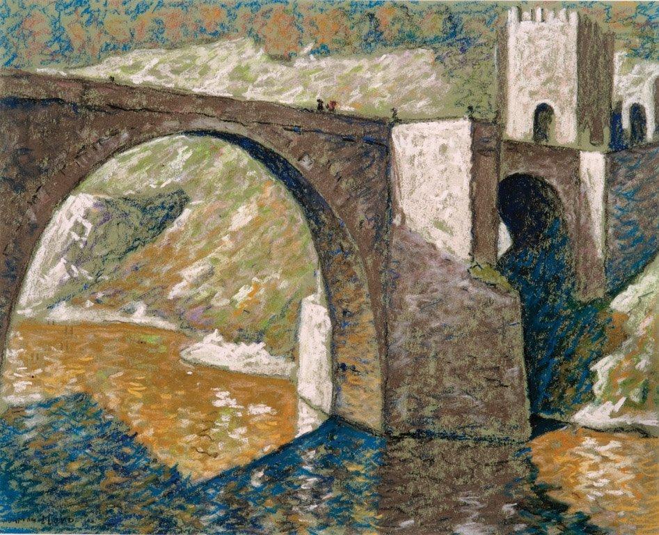 16: NORMAN LLOYD  (1894–1983)  Figures crossing a bridg