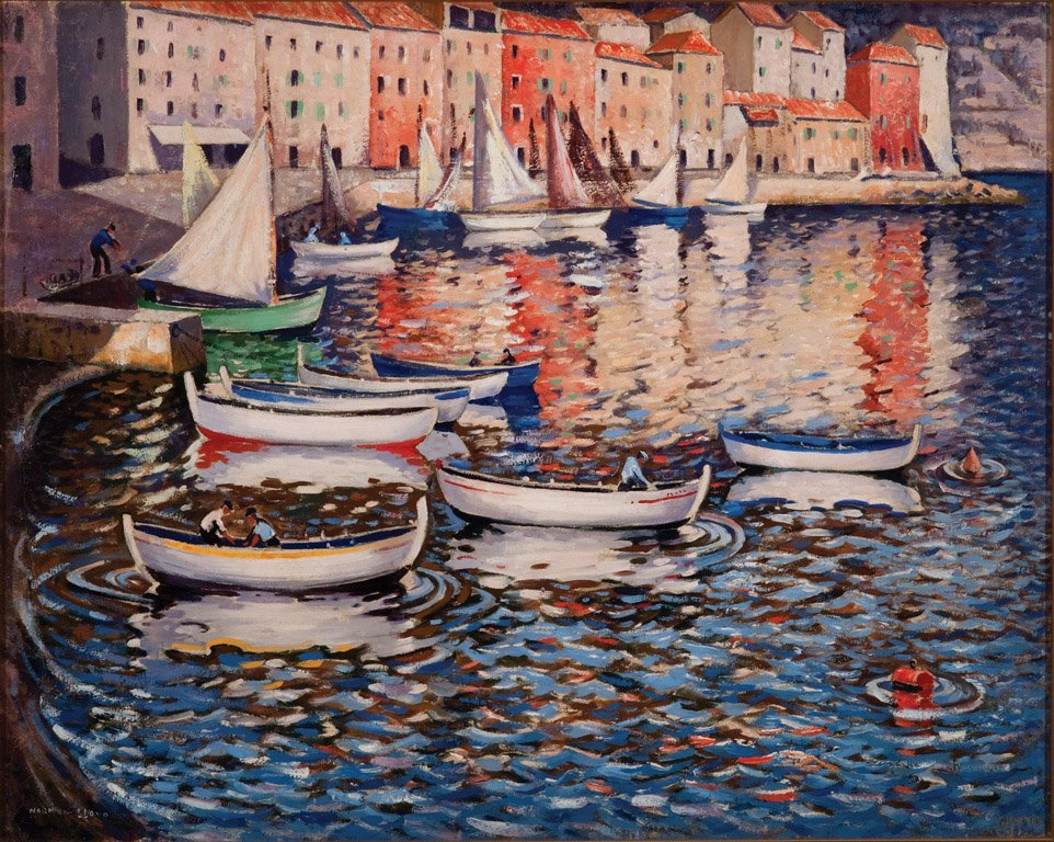 17: NORMAN LLOYD (1894–1983)  Boats in the harbour oil