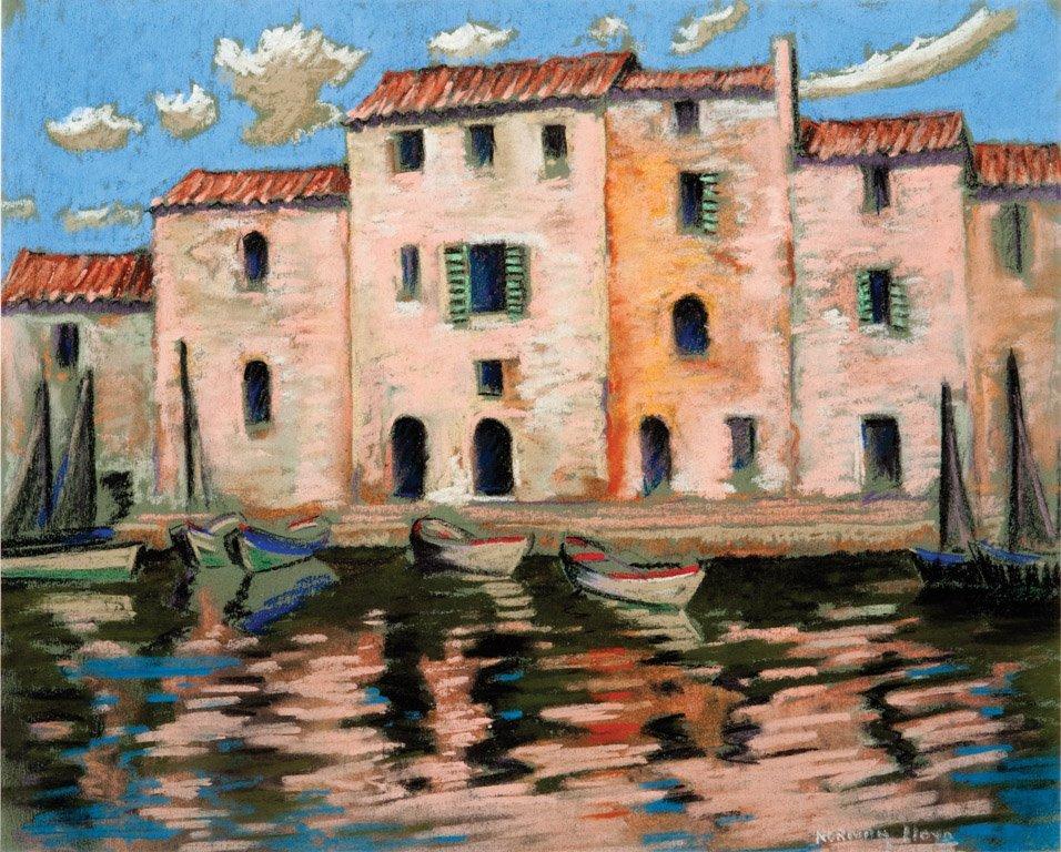 18: NORMAN LLOYD (1894–1983)  Boats and villas pastel o