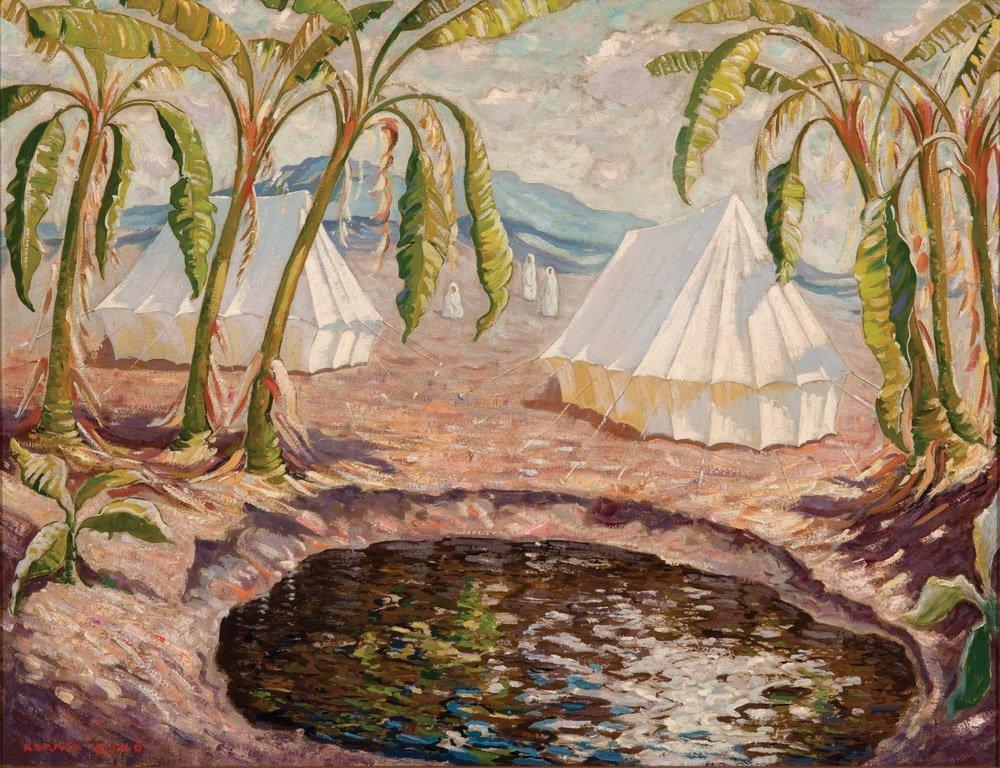 19: NORMAN LLOYD  (1894–1983)  Desert encampment oil on