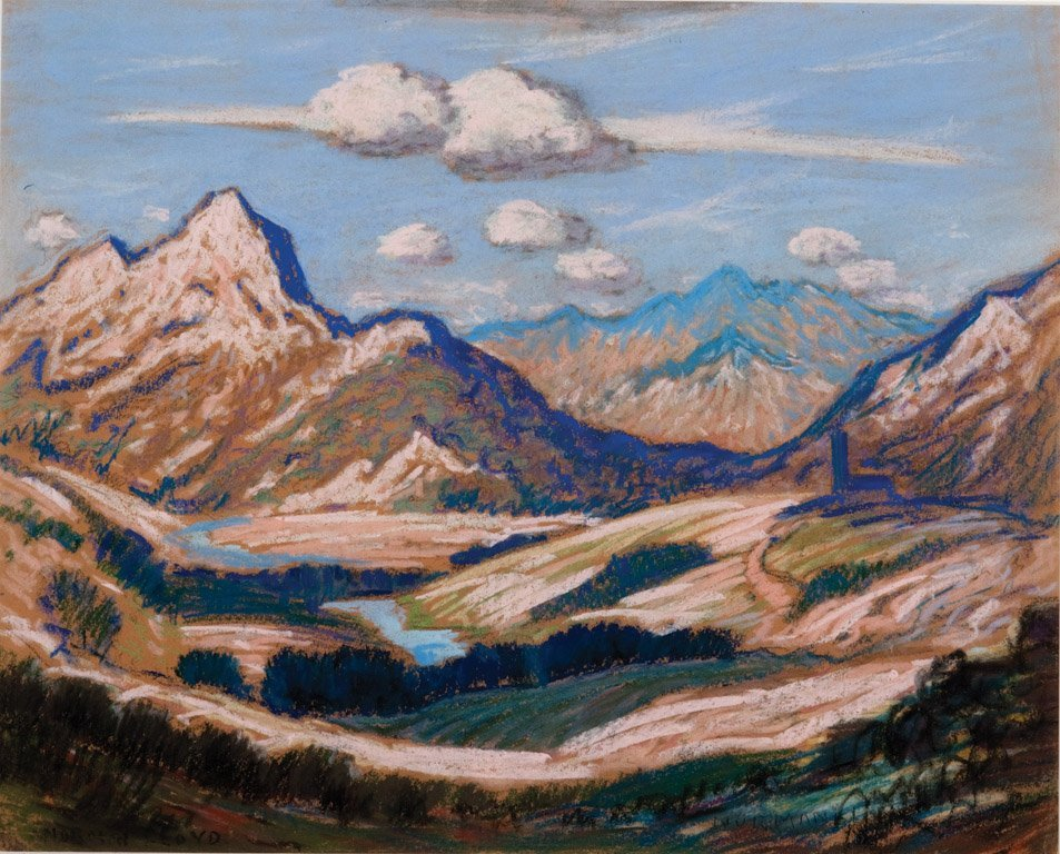 22: NORMAN LLOYD (1894–1983)  Mountains and river paste
