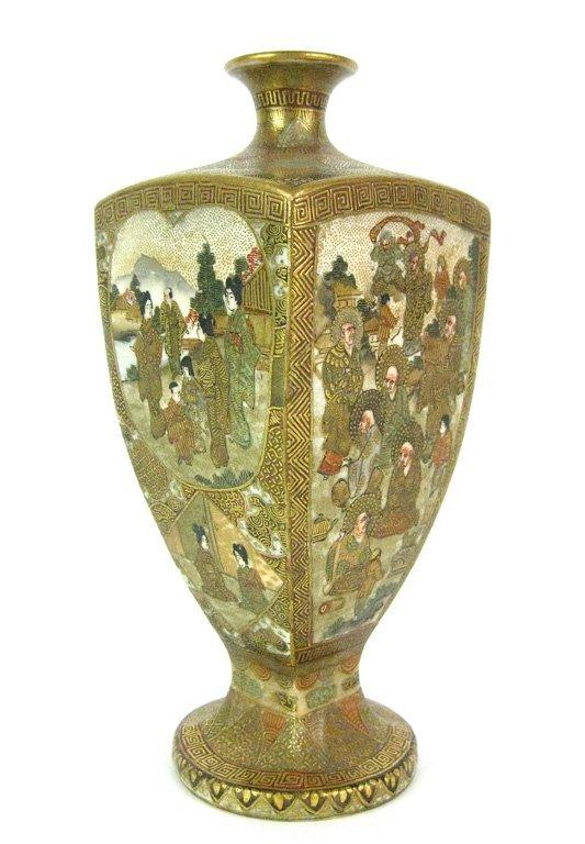 6: A Japanese Satsuma quatrefoil vase, Meiji Period (18