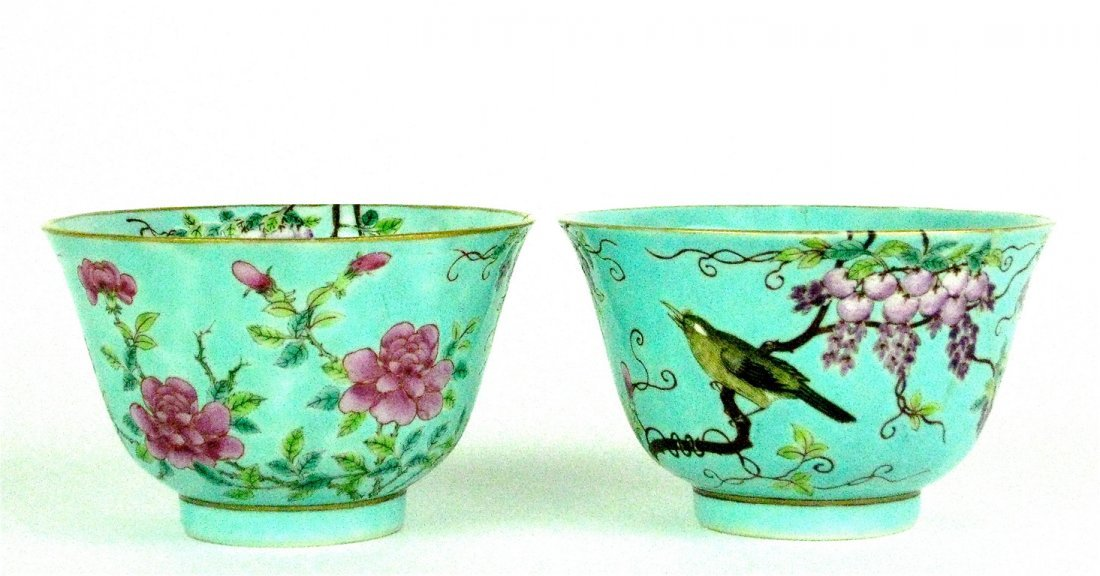 8: A pair of Chinese turquoise-ground enamelled bowls,