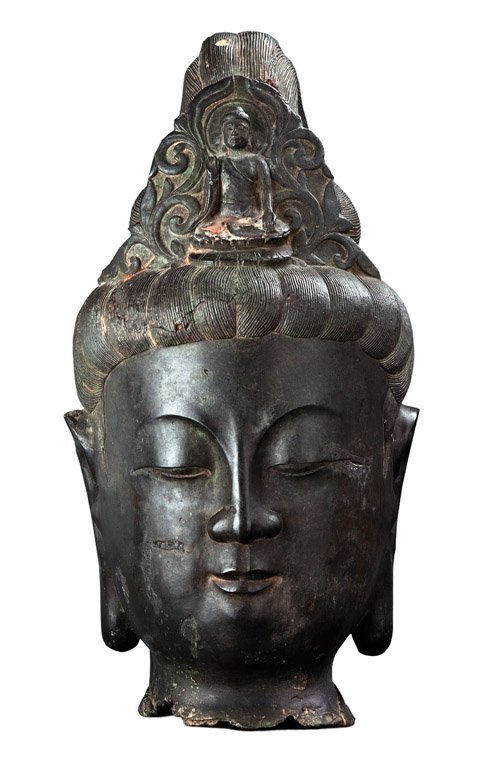 13: A Monumental Chinese Bronze Head of Guanyin, early