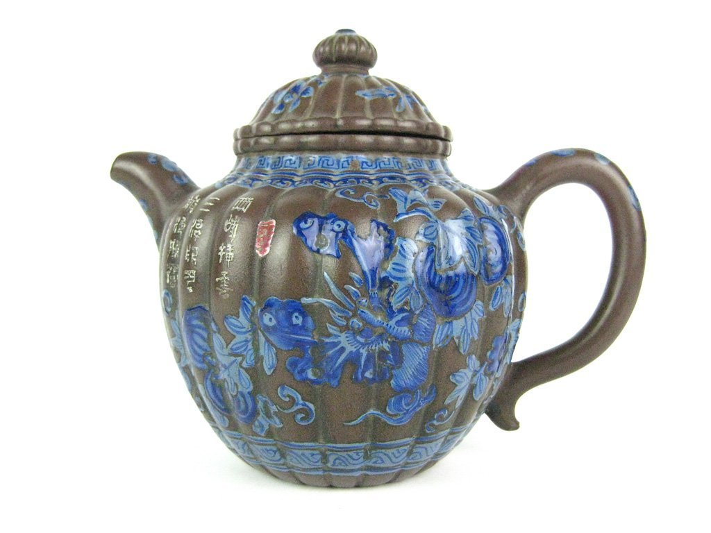 17: A Chinese Yixing lobed teapot