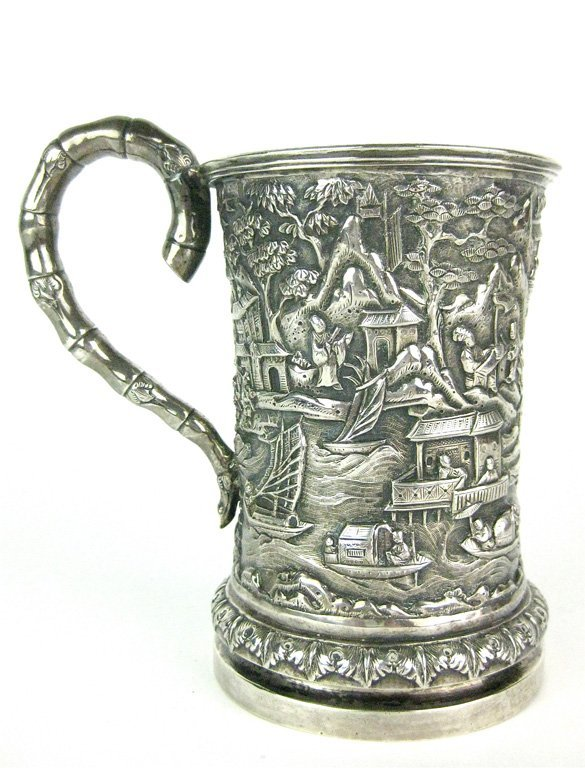 19: A Chinese silver tankard, late Qing dynasty, 19th/2