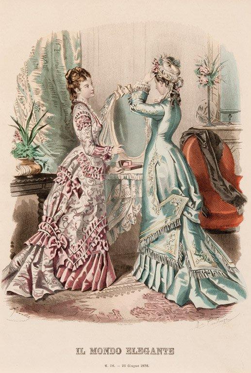 9: Two French 19th century fashion engravings Il Mondo