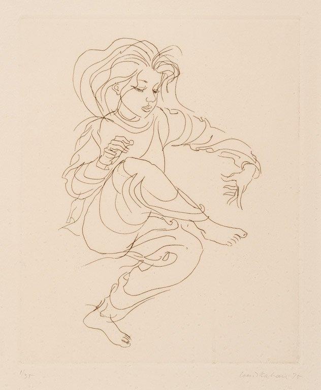 16: LOUIS V.KAHAN (1905-2002) Dancing figure etching  s