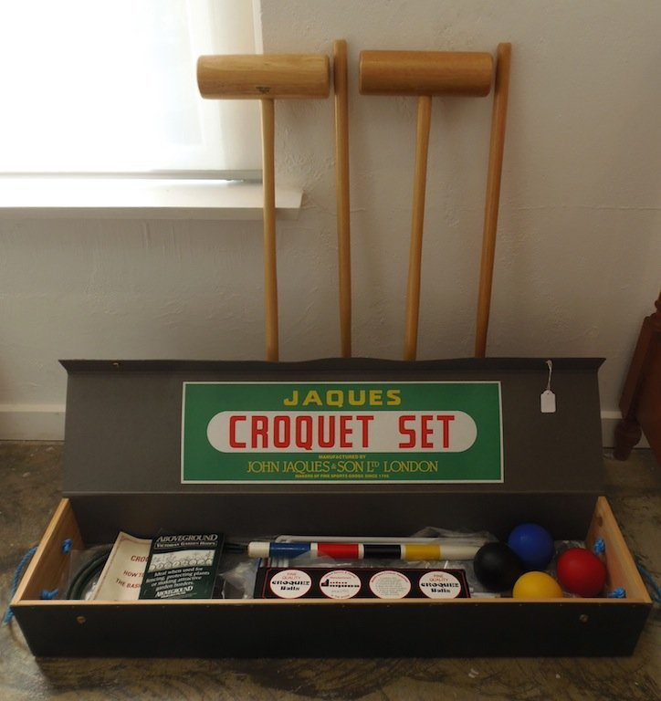 21: A Jaques croquet set in box