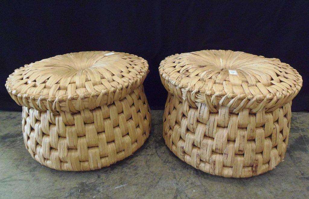 25: A pair of woven rush circular stools 50cm diameter,