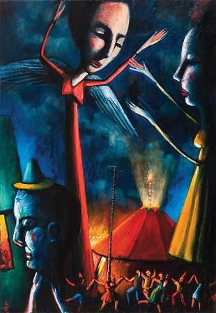 39: JAMES DAVIS (BORN 1940) Stilt figures oil on canva