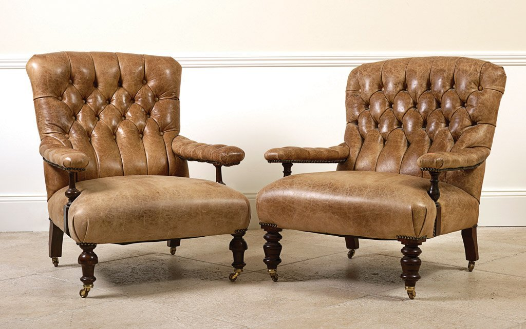 1: Two Victorian armchairs buttoned and upholstered in