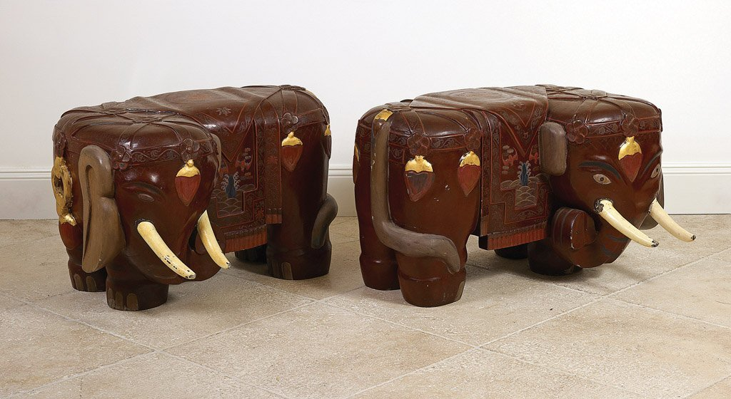 2: A pair of Chinese painted and gilded elephant form s